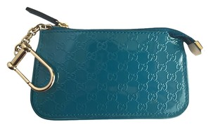Gucci Gucci Turquoise Blue Teal Patent Leather GG Clip Coin Purse Case 233183 AV12G Keyholder Microguccissima
