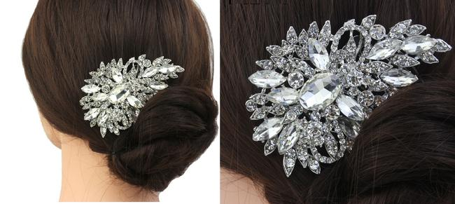 Item - Silver/Crystal/Pearl Comb Barrette Floral Flower Clip Hair Accessory