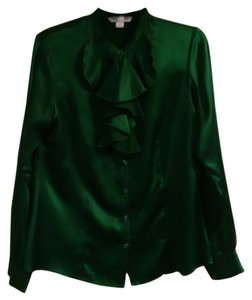 Pendleton Silk Green Holiday Christmas Top Emerald