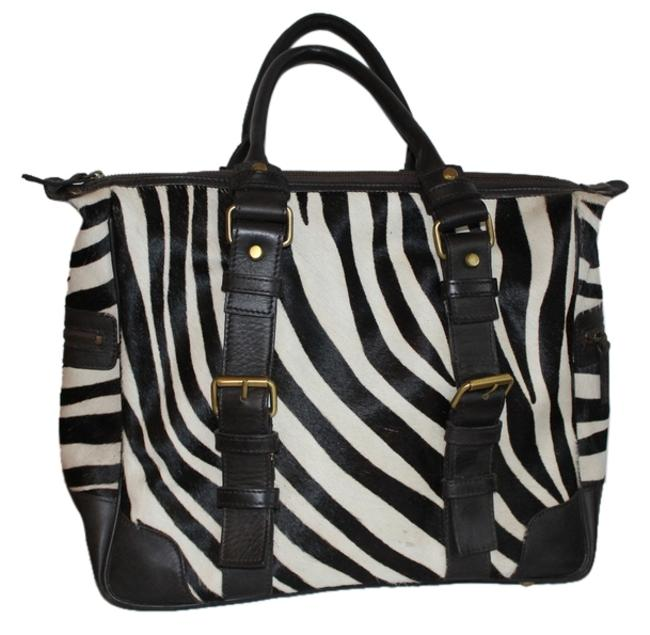 Item - Zebra and Brown Leather Hide Tote
