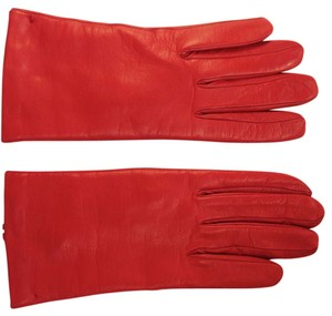 Other NEVER WORN 100% Cashmere Lined Italian Red Fine, Fine Leather Gloves (Size 7)