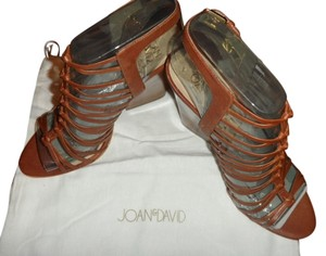 Joan & David Victoria Womens Designer Strappy Heels Open Sandals 8 Brown Platforms