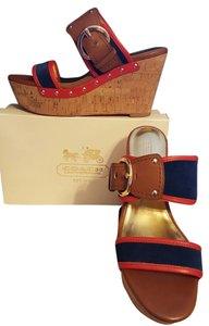 Coach Navy/Vermillion Wedges