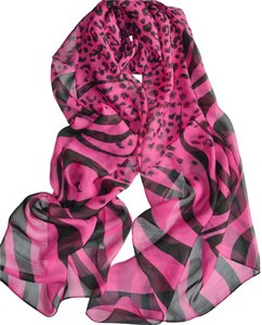 New Leopard/Zebra Hot Pink & Black Chiffon Scarf Wrap Free Shipping