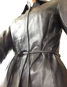 Michelangelo Leather 3/4 Length Trench Italy Leather Jacket