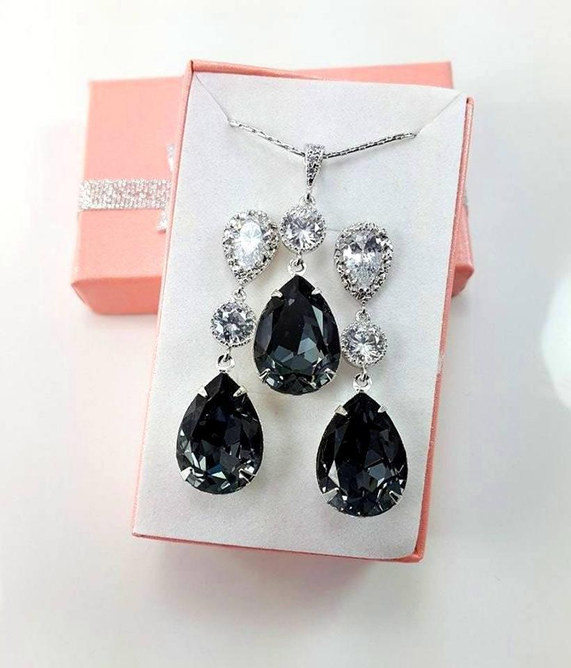 Black Swarovski Crystal Diamond Sterling Silver Post Gift Necklace And Earrings Jewelry Set Image 4 12345