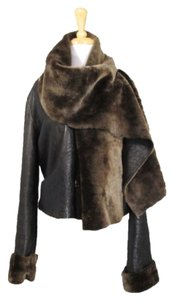 Giorgio Armani Leather Faux Fur Brown Leather Jacket