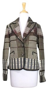 Etro Metallic Woven Plaid Wool Brown Jacket