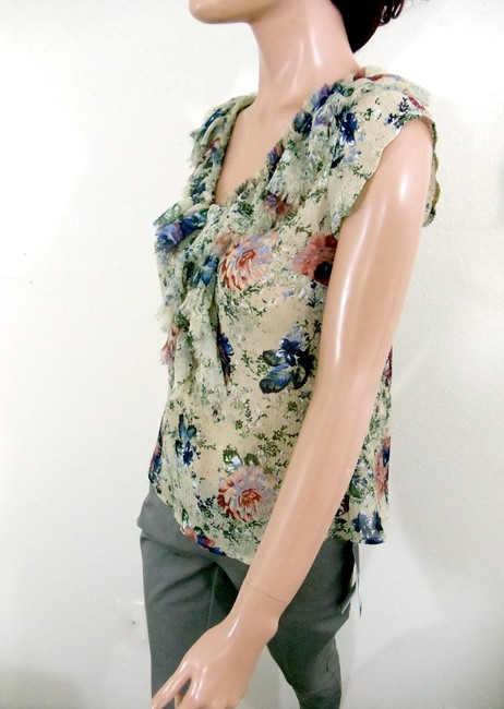 a.n.a. a new approach Floral Print Fringe Collar Top Multi