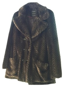 Sanctuary Clothing Faux Fur Chevron Pea Coat