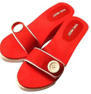Nine West Red & White Sandals