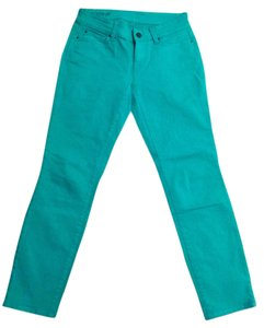 Ann Taylor Cropped Denim Skinny Pants Bright green