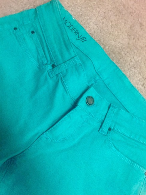 Ann Taylor Cropped Denim Green Modern Skinny Pants Bright green