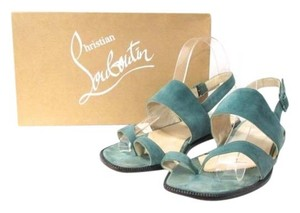 Christian Louboutin Vintage Flats Suede Green Sandals