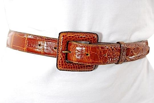 Kleinberg Sherrill KLEINBERG SHERRILL British Tan Polished American ALLIGATOR Belt- BEAUTIFUL -Sz M