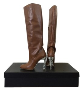 Dries van Noten Brown Leather Knee High Heel Camel Boots