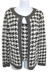 Escada Embellished Black White Cami Jacket Top
