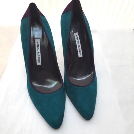 Manolo Blahnik Teal and purple Pumps