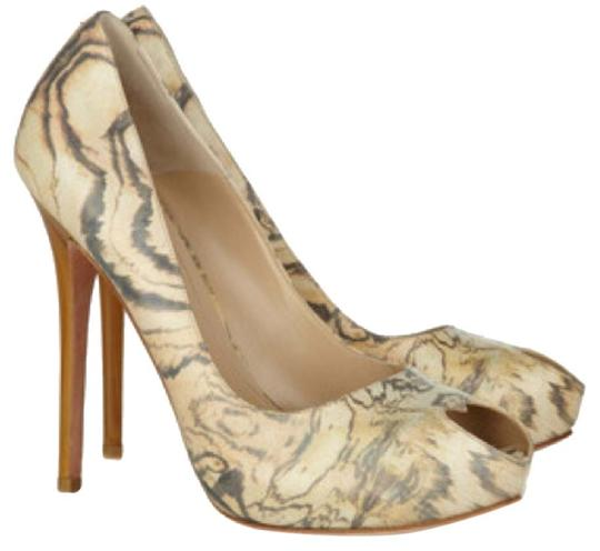 Alexander McQueen Vintage Open Toe Sweetheart Hollywood Tie Dye Limited Edition Swirl Classic Sassy Chic Neutral Pumps