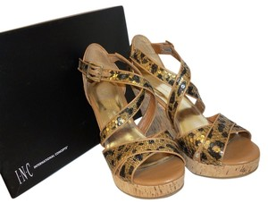 INC International Concepts Cheetah Sequin Cork Leopard Wedges