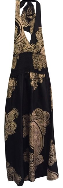 Item - Black with Beige Paisley Print 122 Long Night Out Dress Size 10 (M)