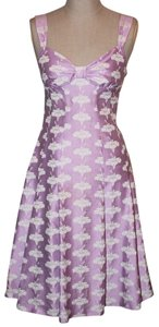 Moschino A-line Pleated Floral Sweetheart Charm Fashion Fitted Dress
