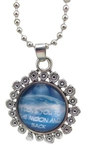 Blue Love you to the moon and back glass cabochon necklace free shipping