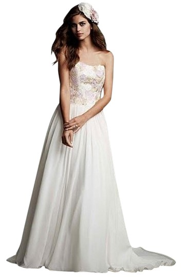 Galina Ivory Crinkle Chiffon Strapless Ball Gown with Watercolor Lace Wg3620 Modern Wedding Dress Size 10 (M)