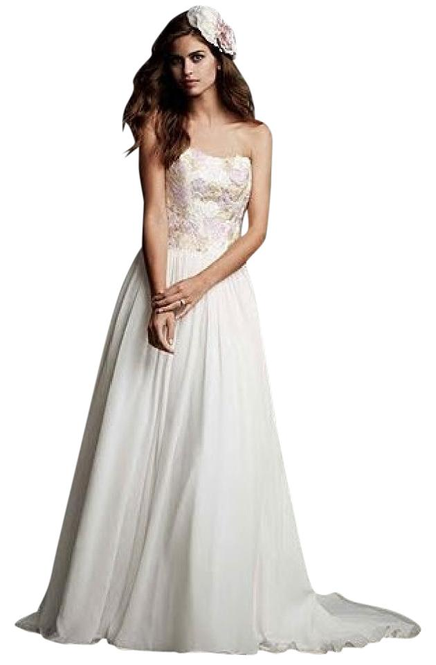 Galina Ivory Crinkle Chiffon Strapless Ball Gown with Watercolor ...