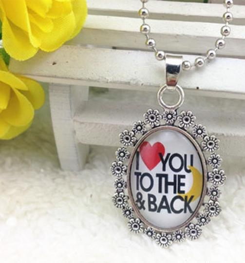 Oval Love You To The Moon And Back Wedding Necklace Free Shipping