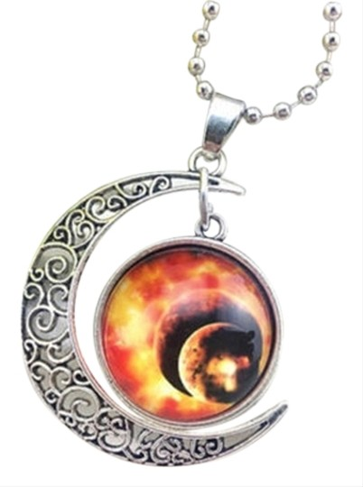 Other Moon Stars & World Glass cabochon necklace free shipping