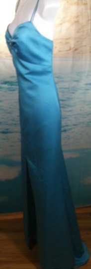 Alfred Angelo Turquoise Satin Formal Bridesmaid/Mob Dress Size 8 (M)
