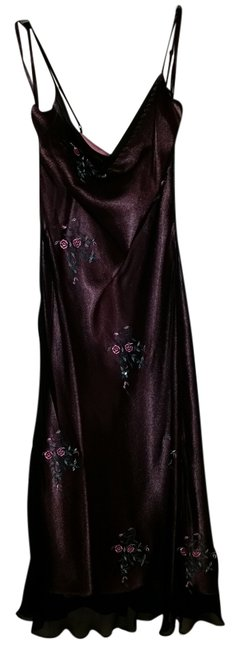 Item - Black with Underlay Of Pink Embroidered Mid-length Night Out Dress Size 10 (M)