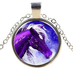 Purple Painted Pony Glass Cabochon Necklace Free Shipping