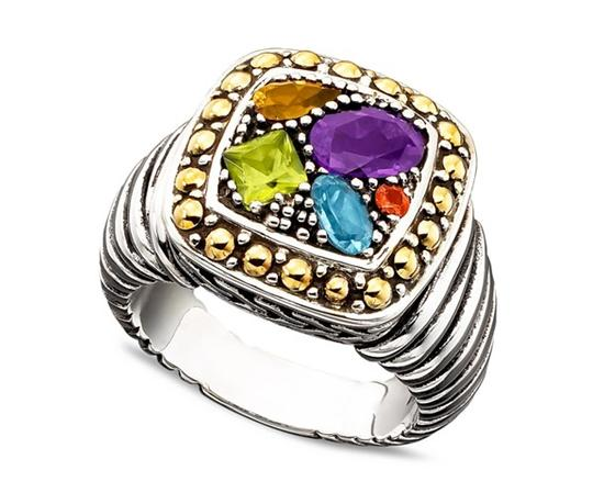 EFFY Balissima by EFFY Multistone Square Ring in 18k Gold and Sterling Silver