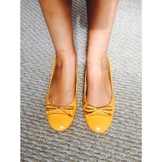 Etienne Aigner Patent Leather Ballerina Patent Leather Yellow Flats