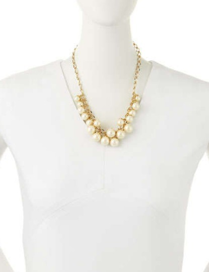 Kate Spade Cream & Gold New York Petaled Faux Pearls Collar Necklace