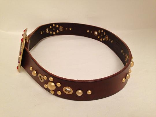 Dolce&Gabbana Dolce & Gabbana Brown Leather Gold Grommet Semi Precious Stone Belt