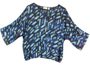Chico's Sheer Net Blue Top Multi-Color