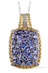 7.11cts Genuine Tanzanite (ovl) Diamond Pendant W/ Chain (20 In) In 14k Yg And Platinum Over Sterling Silver (rv