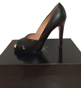 Giuseppe Zanotti Great Condition Peep Toe Leather Black Pumps