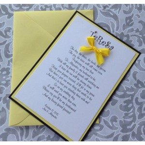 Set Of 5 Yellow And Black Will You Be My Bridesmaid Cards