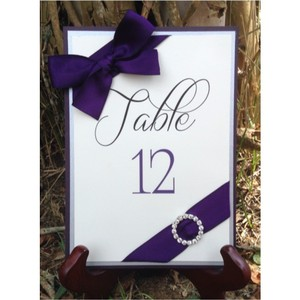 Set Of 5 Dark Purple And Silver Table Number