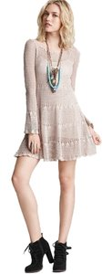 Free People short dress Nude Crochet Sweater Knit on Tradesy