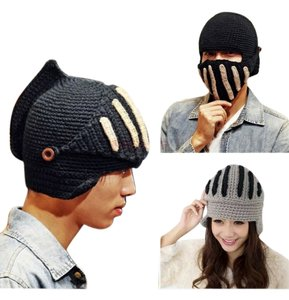 Black knit helmet hat