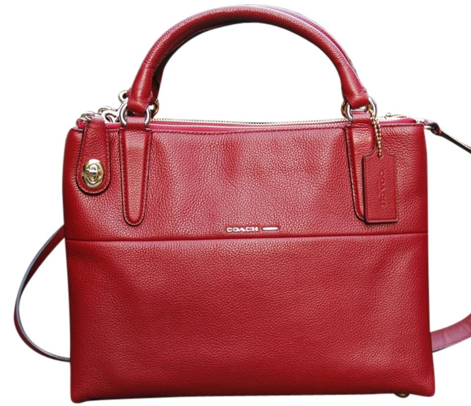 569144b4d9e39 Coach Borough Small Turnlock Pebbled Currant Red Leather Satchel ...