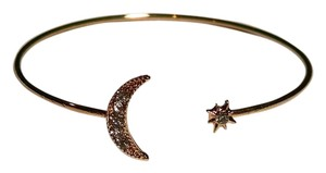 New 14K Gold Filled Cubic Zirconia Sun Moon Bangle Bracelet J1277