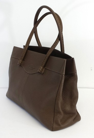 Tod's Brown Pebbled Leather Shoulder Bag