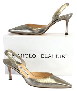 Manolo Blahnik Metallic Leather Slingbacks Sandals