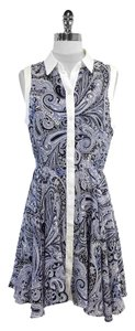 Trina Turk short dress White Navy Paisley Silk Sleeveless on Tradesy